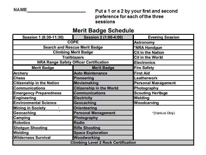 2014 Winte Camp Schedule